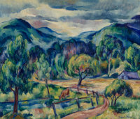 Ernest Fiene (American, 1894-1965) Landscape Before Rain, 1921 Oil on canvas 22 x 26 inches (55.9