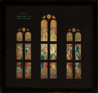 Spence & Bell Co. Stained Glass Nativity Window Watercolor and Ink Study, Boston, circa 1905-1915 26-1/2 x 28 inches...