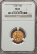 Indian Quarter Eagles: , 1925-D $2 1/2 MS65 NGC. NGC Census: (997/68). PCGS Population: (690/40). CDN: $1,200 Whsle. Bid for NGC/PCGS MS65. Mi...