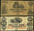 Obsoletes By State:Georgia, Augusta, GA- City Bank $2; $20 circa 1850s Very Good; Very Fine.. ... (Total: 2 notes)