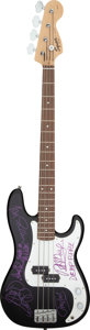Musical Instruments:Bass Guitars, Deep Purple Signed Electric Fender Squier P-Bass Guitar (No Serial Number). ...