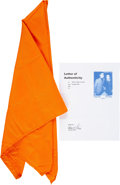 Music Memorabilia:Costumes, Elvis Presley Personally Owned and Stage Worn Orange Scarf (1976)....