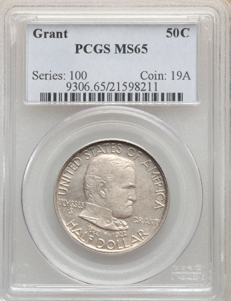 1922 50C Grant No Star, MS 65 PCGS