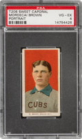 Baseball Cards:Singles (Pre-1930), 1909-11 T206 Sweet Caporal 350/25 Mordecai Brown (Portrait) PSA VG-EX 4 - Only Four Confirmed Brand/Series/Factory Combo. ...