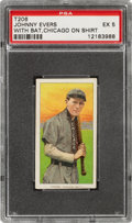 Baseball Cards:Singles (Pre-1930), 1909-11 T206 Tolstoi Johnny Evers (With Bat, Chicago On Shirt) PSA EX 5 - Pop One, None Higher for Brand! ...