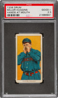 Baseball Cards:Singles (Pre-1930), 1909-11 T206 Drum Miller Huggins (Hands At Mouth) PSA Good+ 2.5 - The Only PSA-Graded Example! ...