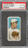 Baseball Cards:Singles (Pre-1930), 1909-11 T206 Polar Bear Walter Johnson (Hands At Chest) PSA EX-MT 6 - Pop Two, None Higher for Brand. ...