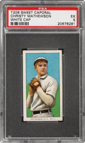 Baseball Cards:Singles (Pre-1930), 1909-11 T206 Sweet Caporal 150/30 Christy Mathewson (White Cap) PSA EX 5 - Pop Three, Two Higher for Brand/Series. ...