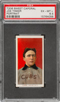 Baseball Cards:Singles (Pre-1930), 1909-11 T206 Sweet Caporal 150/30 Joe Tinker (Portrait) PSA EX-MT+ 6.5 - Pop One, None Higher for Brand/Series/Factory! ...