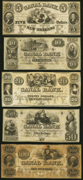 Obsoletes By State:Louisiana, New Orleans, LA- New Orleans Canal and Banking Company $5; $10; $20; $50; $100 18__ Remainders About Uncirculated or Bette... (Total: 5 notes)