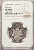 German States:Bremen, German States: Bremen. Free City 36 Grote (1/2 Taler) 1864 MS64 Prooflike NGC,...