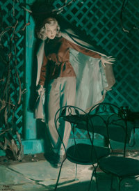 Tom Lovell (American, 1909-1997) The Corpse was Beautiful Oil on canvas 34 x 2 inches (86.4 x 5.1