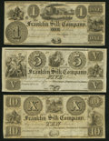 Obsoletes By State:Ohio, Franklin, OH- Franklin Silk Company $1; $5; $10 18__ Remainders About Uncirculated or Better.. ... (Total: 3 notes)