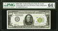 Small Size:Federal Reserve Notes, Fr. 2201-H $500 1934 Light Green Seal Federal Reserve Note. PMG Choice Uncirculated 64 EPQ.. ...