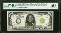 Fr. 2210-H $1,000 1928 Light Green Seal Federal Reserve Note. PMG About Uncirculated 50