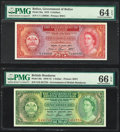 Belize Government of Belize 5 Dollars 1.6.1975 Pick 35a PMG Choice Uncirculated 64 EPQ; British Honduras Government... (...