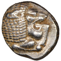 Ancients: IONIA. Miletus. Ca. late 6th-5th centuries BC. AR 1/12 stater or obol (10mm). NGC Choice AU