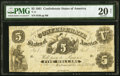 Confederate Notes:1861 Issues, T11 $5 1861 PF-4 Cr. 44 PMG Very Fine 20 Net.. ...