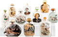 Decorative Accessories, A Group of Nine Chinese Inside-Painted Glass Snuff Bottles, 20th century. 3-3/8 x 2-1/4 x 1 inches (8.4 x 5.7 x 2.5 cm) (tal... (Total: 10 Items)