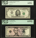 Fr. 1983-G* $5 1993 Federal Reserve Star Note. PCGS Very Choice New 64PPQ; Repeater Serial Number 13911391 Fr