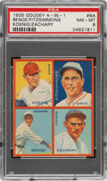 Baseball Cards:Singles (1930-1939), 1935 Goudey 4-In-1 Benge/Fitzsimmons/Koenig/Zachary #8A PSA NM-MT 8 - Pop One, None Higher! ...