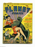 "Golden Age (1938-1955):Science Fiction, Planet Comics #20 (Fiction House, 1942) Condition: VG-. A ""wingedman-eater"" tries to take a bite out of woman in this e..."