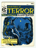 """Magazines:Horror, Terror Illustrated #1 (EC, 1955) Condition: VG+. Reed Crandall's cover uses only two colors to maximum effect. This """"picto-f..."""