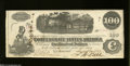 Confederate Notes:1862 Issues, T40 $100 1862. Light circulation folds are concentrated on ...