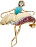 Estate Jewelry:Brooches - Pins, Diamond, Ruby, Turquoise, Gold Brooch. ...