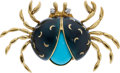 Estate Jewelry:Brooches - Pins, Turquoise, Diamond, Enamel, Gold Brooch . ...