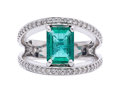 Estate Jewelry:Rings, Emerald, Diamond, White Gold Ring The ring fe...