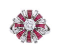 Estate Jewelry:Rings, Ruby, Diamond, Platinum Ring The ring centers...