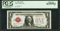 Low Serial Number 1214 Fr. 1500 $1 1928 Legal Tender Note. PCGS Choice New 63PPQ