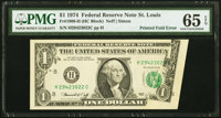 Printed Fold Error Fr. 1908-H $1 1974 Federal Reserve Note. PMG Gem Uncirculated 65 EPQ