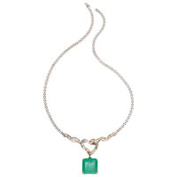 Emerald, Diamond, White Gold Necklace