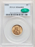 1931 1C MS66 Red PCGS. CAC. PCGS Population: (308/30). NGC Census: (107/9). CDN: $250 Whsle. Bid for NGC/PCGS MS66. Mint...