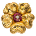 Estate Jewelry:Brooches - Pins, Ruby, Diamond, Gold Brooch, Tiffany & Co. . ...