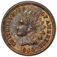 1864 1C L on Ribbon, Snow-5, FS-2304, MS63+ Red and Brown PCGS. (006.5). PCGS Population: (1/2 and 1/0+). NGC Census: (0...