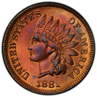 1881 1C MS65+ Red and Brown PCGS. PCGS Population: (115/12 and 4/0+). NGC Census: (114/26 and 0/0+). CDN: $425 Whsle. Bi...
