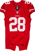 Football Collectibles:Uniforms, 2015 Carlos Hyde Game Worn & Unwashed San Francisco 49ers Jersey - Photo Matched to 10/4 vs. Packers....