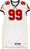 Football Collectibles:Uniforms, 2002 Warren Sapp Game Issued & Signed Tampa Bay Buccaneers Jersey....