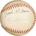 Baseball Collectibles:Balls, Circa 1940 Josh Gibson & Ray Brown Dual-Signed Baseball....