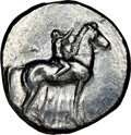 Ancients: CALABRIA. Tarentum. Ca. early 3rd century BC. AR stater or didrachm (22mm, 11h). NGC VF, smoothing