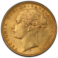"Australia: Victoria gold ""St. George"" Sovereign 1873-S MS62 PCGS"