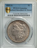 Morgan Dollars, 1892-S $1 -- Surfaces Smoothed -- PCGS Genuine. AU Details. Mintage 1,200,000....