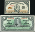 World Currency, Canada Dominion of Canada 25 Cents 1923 DC-24d Very Fine;. Canada Bank of Canada $1 1937 BC-21d Extremely Fine-Abo... (Total: 2 notes)