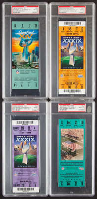 1980, 2002, 2005 Full Super Bowl Tickets, Lot of 4