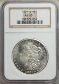 Morgan Dollars: , 1921-S $1 MS65 NGC. NGC Census: (752/63). PCGS Population: (1319/135). CDN: $450 Whsle. Bid for NGC/PCGS MS65. Mintage 21,6...