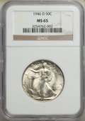 Walking Liberty Half Dollars: , 1946-D 50C MS65 NGC. NGC Census: (6942/2617). PCGS Population: (10180/2630). CDN: $75 Whsle. Bid for NGC/PCGS MS65. Mintage...