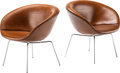 Furniture, Arne Jacobsen (Danish, 1902-1971). Pair of Pot Chairs, designed 1959, produced circa 1965, Fritz Hansen. Steel, leather... (Total: 2 Items)